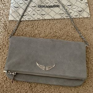 Zadig & Voltaire grey suede handbag new